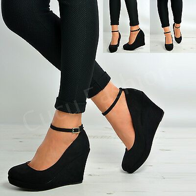 New Womens Ladies Ankle Strap Court Pumps Black Suede High Wedge Heels Shoes