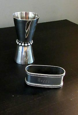"Sterling Silver Shot glass & napkin ring for ""Peggy"""
