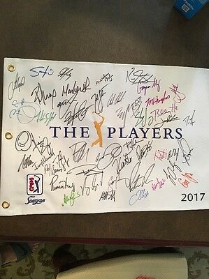 2017 The Players Field Signed Golf Pin Flag 35 Plus Autographs (see Description)