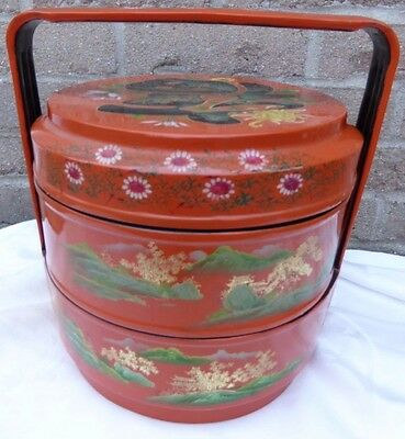 "VTG China Lacquer Stacking Box 3 tier 11"" tall orange w gold Asia lunch picnic"