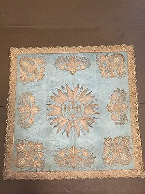 18th Century Silver Thread Embroidered Chalice Veil on Blue Silk Dated 1796 IHS