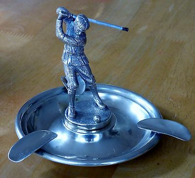 Vintage (formerly Silver plated) 'HAMO' marked Ashtray with Golfer