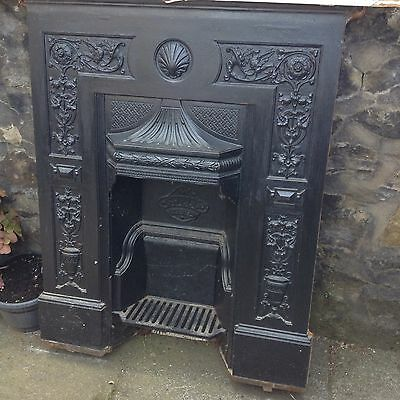 Original Restored Antique Victorian Cast Iron Bedroom Fireplace