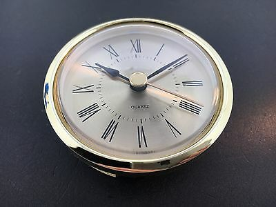 """Clock Battery Fit-Up Insert Roman Gold Face  2 7/16"""" Dia. fits a 2 1/4"""" Hole"""