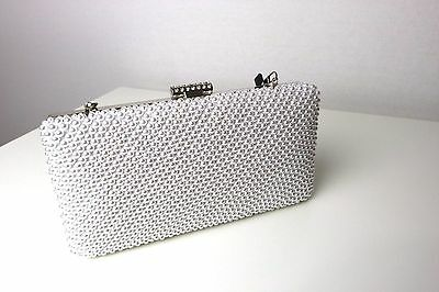 Faye London Women's White Embellished Party Cocktail Wedding Purse Bag