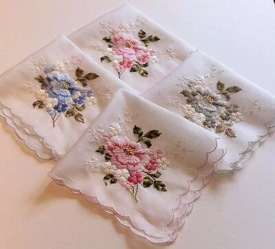 Four Ladies Vintage Embroidered Handkerchiefs  [Unused,