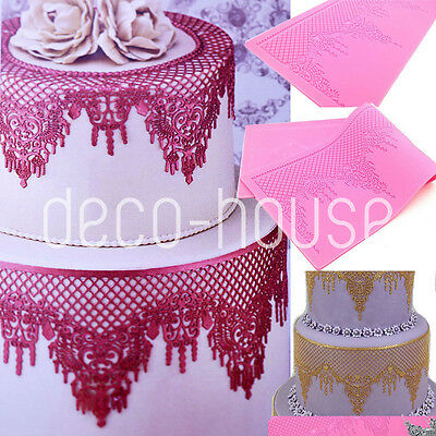 Chandelier Shaped Silicone Lace Fondant Cake Mould Mat Wedding Sugarcraft Baking
