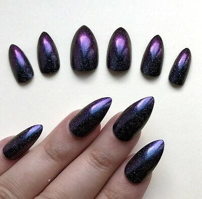 Hand Painted False Nails STILETTO (Or ANY SHAPE) Chameleon Purple & Teal Shimmer