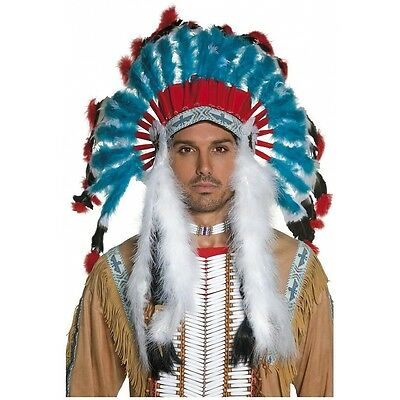 Indian Headdress Adult Costume Accessory Mens Western Halloween Fancy Dress