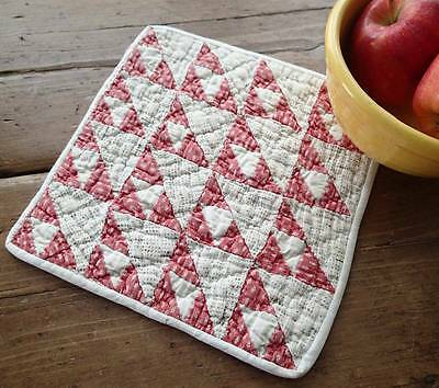 """Charming Antique 1880s Doll Quilt TINY PIECES 9"""" Turkey Red & White"""