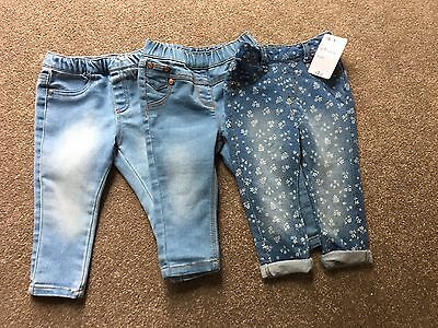 3 Pairs Of Girls Or Boys Jeans 6-9 Months