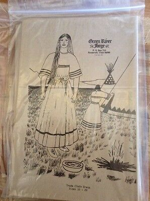 New Green River Forge Trade Cloth Dress Sewing Pattern Size 10-20 Rendezvous