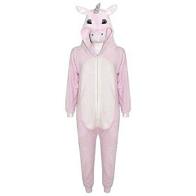 Girls Kids Pink Unicorn One Piece Fleece Fancy Dress Pyjamas Halloween Age 7-13