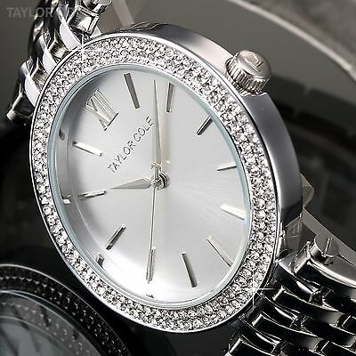 Taylor Cole Lady Women Fashion Crystal Silver Stainless Steel Quartz Wrist Watch