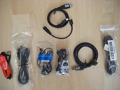Job lot bundle eight (8) mobile phone data cables connectors earbuds microphones