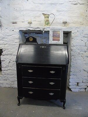 Vintage Hand painted Writing Bureau in Graphite Black