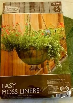 2 x EASY MOSS LINERS FOR HANGING BASKETS NATURAL JUTE