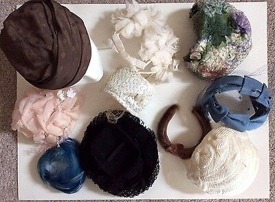 Lot of 10 - Vintage Women's 1940s thru 1960s Hats - Netting Feathers Flowers