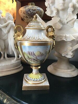 Antique French Hand Painted Porcelain Urn Finely Detailed Lovely Crown Mark