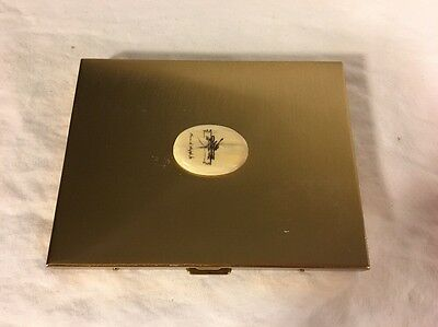 Vintage 1950's Brass Locking Cigarette Case with Horn Scrimshaw Signed RARE CASE