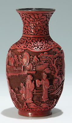 Carved Chinese Cinnabar Laquer Vase - 19th. C.