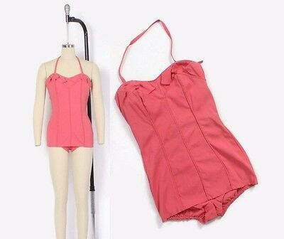 VTG 50s Pink Pin-Up Convertible Halter Strap Strapless Bathing Swim Suit S - M