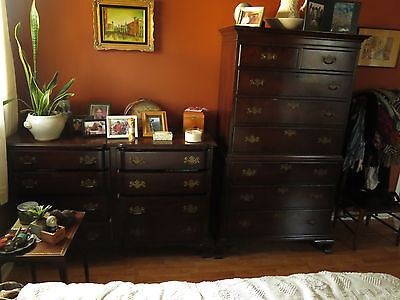 Antique Colonial Chippendale style KLING Solid Mahagony chest Highboy dresser