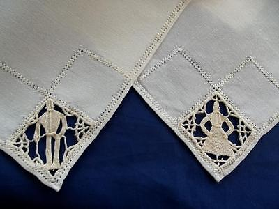 "6 Antique Italian Linen 15"" Napkins Figural Reticella Hand Needle Lace People"