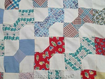 """Charming VINTAGE 30-50s Feedsack prints Bow Tie QUILT TOP 75"""" x 67"""""""