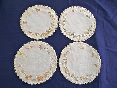 "4 Antique FAB Society Silk Embroidered Flowers 4"" Round Linen Doilies Coasters"