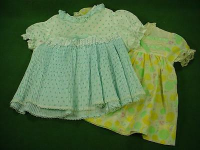 2 DARLING VINTAGE 1970s BABY GIRL PARTY DRESSES SZ 9 MONTHS  NICE FOR DOLLS