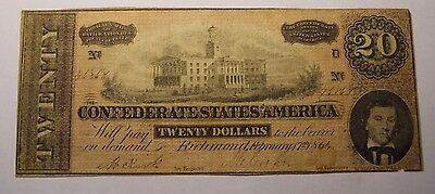 1864 $20 Confederate States of America Currency - Richmond #46868