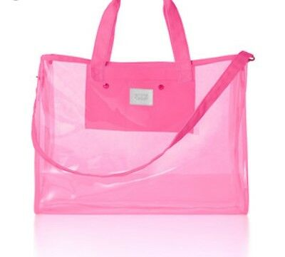 VICTORIA'S SECRET PINK Jelly Clear XL Beach Bag Tote Discontinued NWT