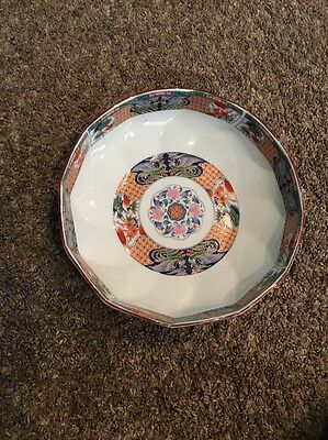 Antique Large Imari Colored Flower 10 Inch Round Japanese Bowl