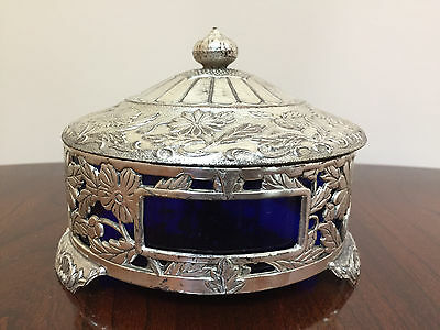 3 Piece Vintage Silverplate and Cobalt Blue Glass Covered Bowl - Japan