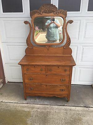 19th Century Victorian Solid Oak Dresser With Mirror