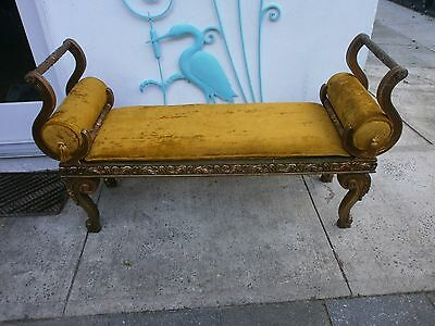 Antique French Provincial Carved Wood Gold BENCH Tassels Italian Louie XV Style