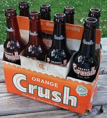 Vintage 1967-68-69 8-Pack ORANGE CRUSH Bottles w/Original CARTON, AMBER Bottles