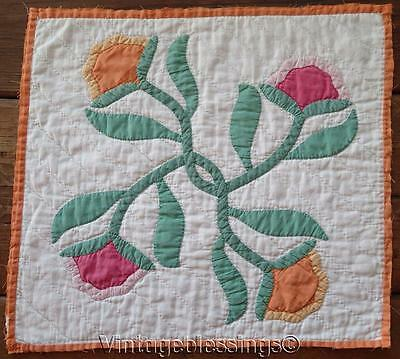 30s Vintage Peach Pink Crossed Tulips Applique QUILT Piece Make Pillow