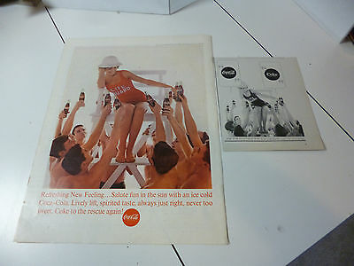 Original 1963 Coke Coca Cola Female Lifeguard Color ad & Small ad