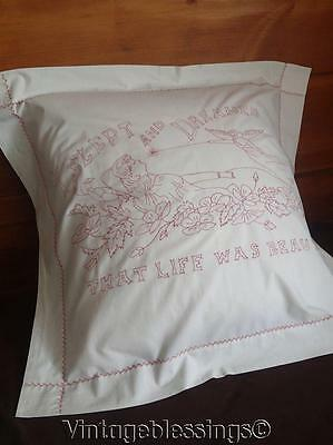 "ANTIQUE Victorian ANGEL Redwork Pillow Cover 28"" x 30 1/2"""