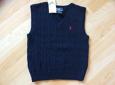 New Wt Polo Ralph Lauren Boys Navy 100%cotton Classic Vest With Pony, Size 4T
