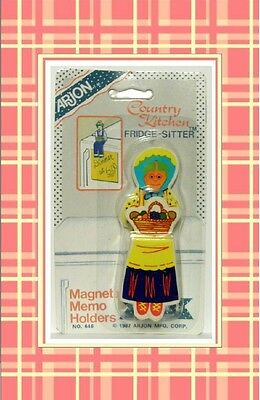 Vintage 1987 Arjon Country Kitchen Fridge Sitter magnet memo holder Woman