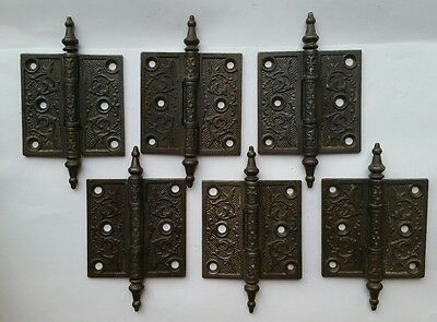 OLD Victorian Cast Iron Door Hinges Steeple Hardware-Quantity 6 FREE SHIPPING