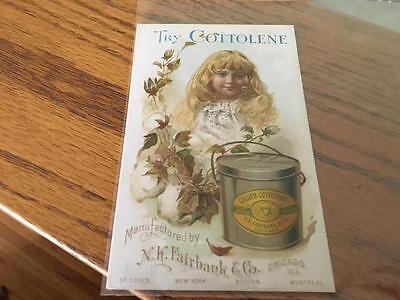 Antique Trade Card Cottolene NK Fairbank & Co. Chi ILL Health Food Replaces Lard