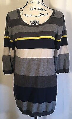 Oh Baby Motherhood Maternity L Gray Yellow Stripe Sweater 3/4 Sleeve Stretch Top