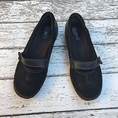 Clarks Artisan Black Leather Mary Jane Shoes Women's 8 M