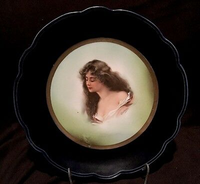 Antique Signed Austria Portrait Plate Hand Painted Victorian Women Gold & Cobalt
