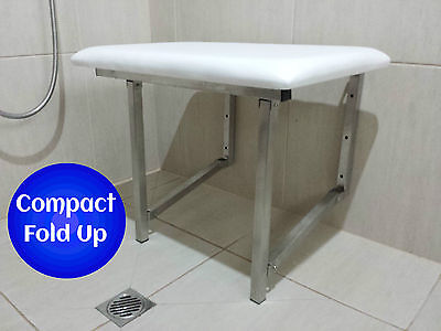 Wall Mount Shower Chair Seat Fold Up Disabled Aid Stainless Steel Padded