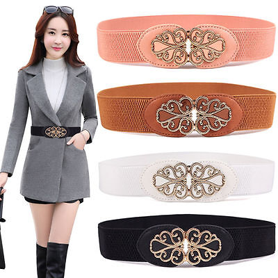 Lady Buckle Wide Stretch Womens Waist  Elastic Belt Corset Waistband Dress Belt